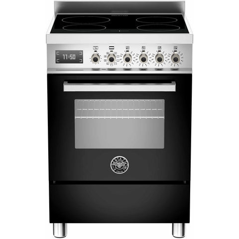 Bertazzoni 60cm Professional range cooker with 4 zone induction and 1 electric oven Black-Appliance People