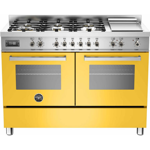 Bertazzoni 120cm Professional range cooker with 6 burners, s/s griddle and 2 electric ovens Yellow-Appliance People