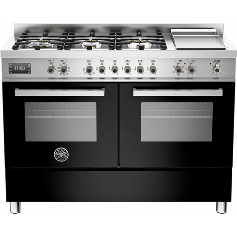 Bertazzoni 120cm Professional range cooker with 6 burners, s/s griddle and 2 electric ovens Black-Appliance People