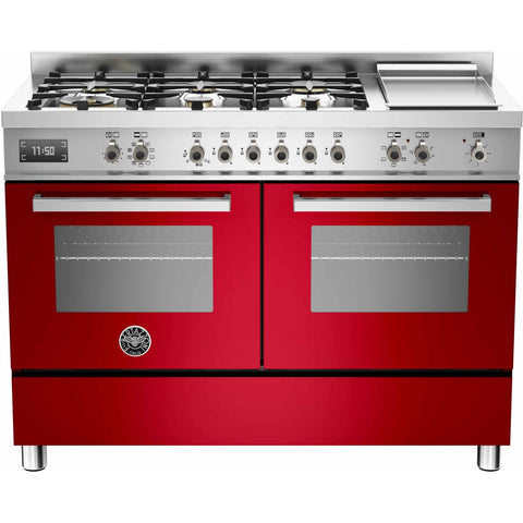 Bertazzoni 120cm Professional range cooker with 6 burners, s/s griddle and 2 electric ovens Red-Appliance People