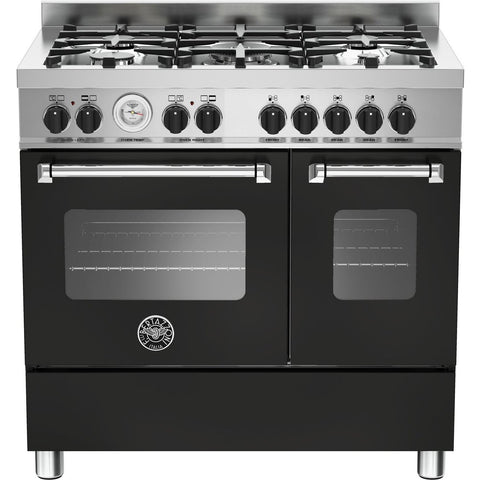 Bertazzoni 90cm Master range cooker with 5 burners and 2 electric ovens Matt Black-Appliance People