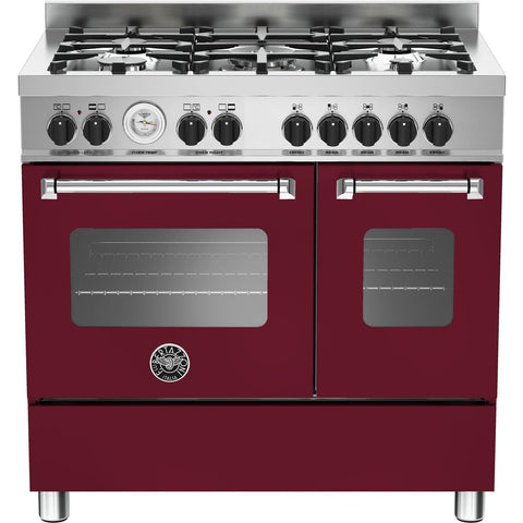 Bertazzoni 90cm Master range cooker with 5 burners and 2 electric ovens Matt Burgundy-Appliance People