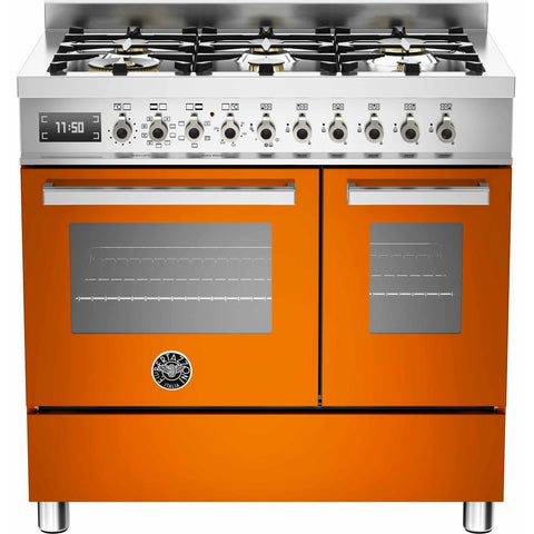 Bertazzoni 90cm Professional range cooker with 6 burners and 2 electric ovens Orange-Appliance People