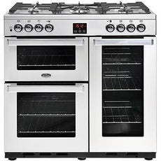 Belling Cookcentre 90DFT 90cm Dual Fuel Range Cooker Professional Stainless Steel-Appliance People