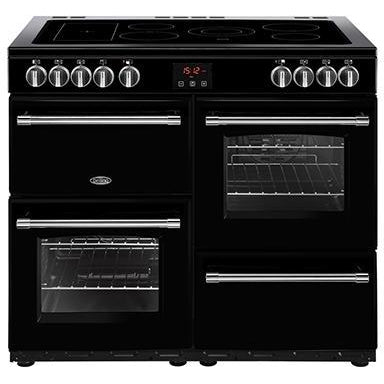 Belling Farmhouse 100E 100cm Ceramic Range Cooker Black-Appliance People