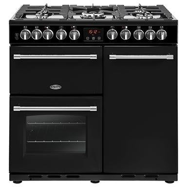 Belling Farmhouse 90DFT Deluxe 90cm Dual Fuel Range Cooker Black-Appliance People