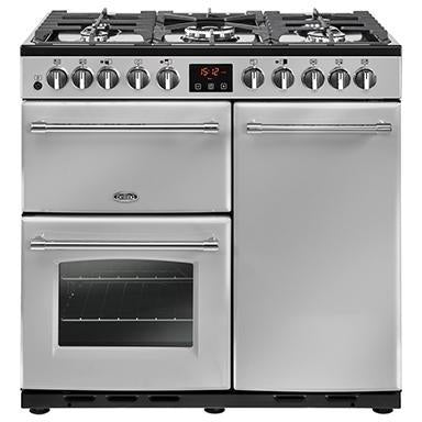 Belling Farmhouse 90DFT Deluxe 90cm Dual Fuel Range Cooker Silver-Appliance People