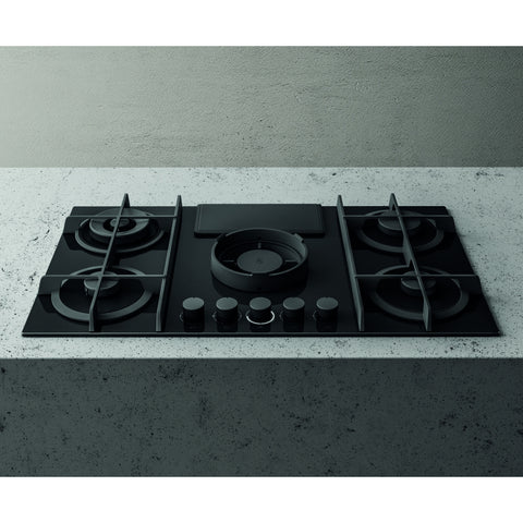 Elica NIKOLATESLA FLAME BLK DO 88cm Ducted Air Venting Gas Hob in Black
