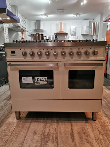 ILVE Venezia 100cm Twin Dual Fuel 6 Burner Range Cooker in Cream * * Ex showroom * *