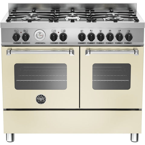 Bertazzoni 100cm Master range cooker with 6 burners and 2 electric ovens Matt Cream-Appliance People