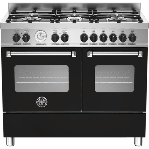 Bertazzoni 100cm Master range cooker with 6 burners and 2 electric ovens Matt Black-Appliance People