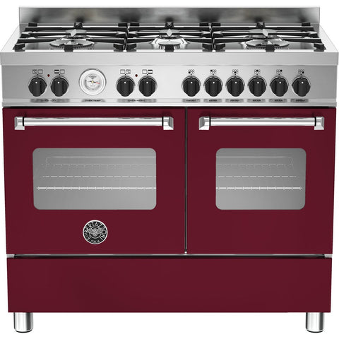 Bertazzoni 100cm Master range cooker with 6 burners and 2 electric ovens Matt Burgundy-Appliance People