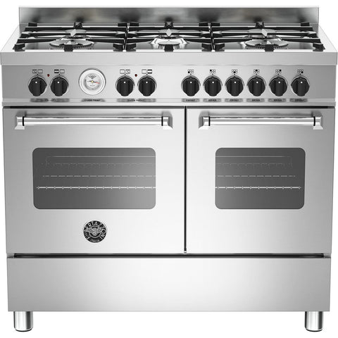 Bertazzoni 100cm Master range cooker with 6 burners and 2 electric ovens Stainless Steel-Appliance People