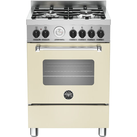 Bertazzoni 60cm Master range cooker with 4 burners and 1 electric oven Matt Cream-Appliance People