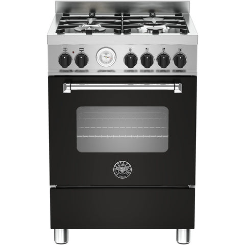 Bertazzoni 60cm Master range cooker with 4 burners and 1 electric oven Matt Black-Appliance People