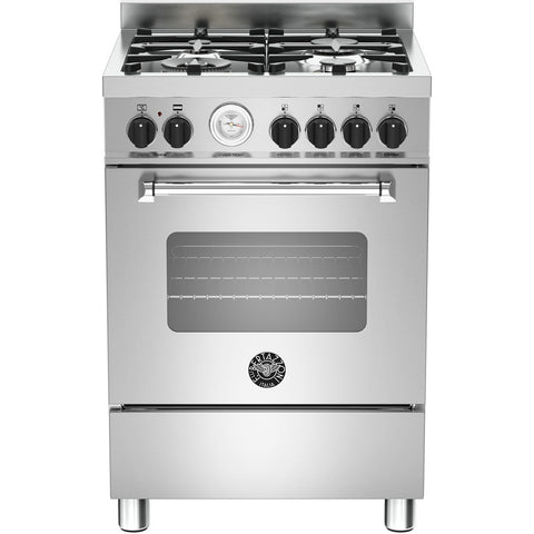 Bertazzoni 60cm Master range cooker with 4 burners and 1 electric oven Stainless Steel-Appliance People