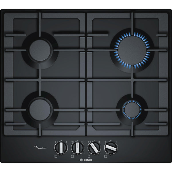 Bosch Serie 6 PCP6A6B90 4 Burner Gas Hob Black-Appliance People