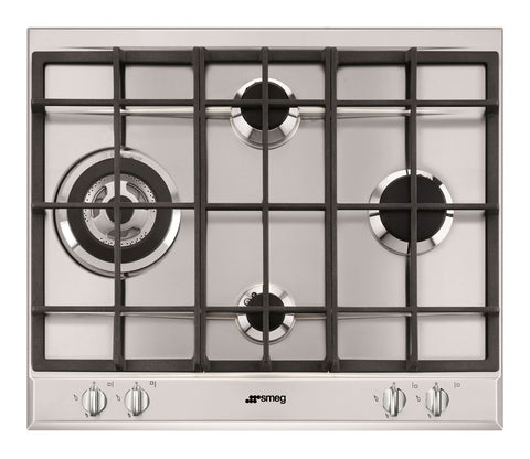 Smeg P261XGH 60cm Cucina Stainless Steel 4 Burner Gas Hob with Ultra Rapid Burner