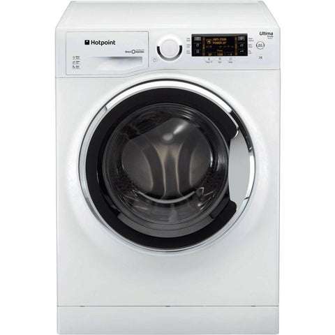 Hotpoint RPD9647JX Ultima S-Line Freestanding Washing Machine, 9kg Load, A+++ Energy Rating, 1600rpm Spin, White / Stainless Steel