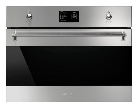 Smeg SF4390VCX1 45cm Height Classic Stainless Steel and Eclipse Glass Compact Combination Steam Oven