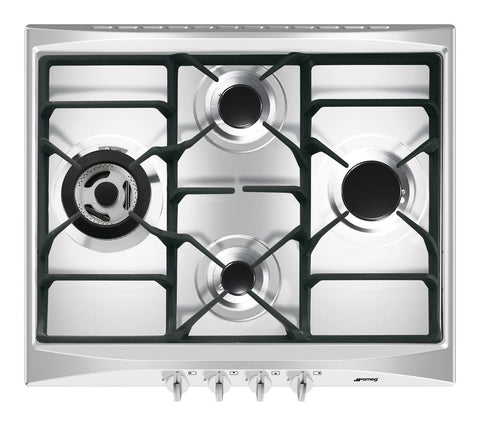 Smeg SR264XGH2 60cm Cucina Stainless Steel 4 Burner Gas Hob with Ultra Rapid Burner