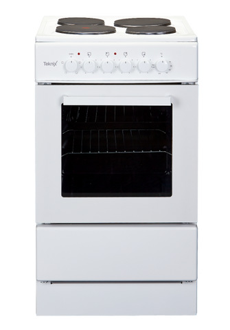 Teknix TK50SE Electric Freestanding Cooker in White/Black/Silver