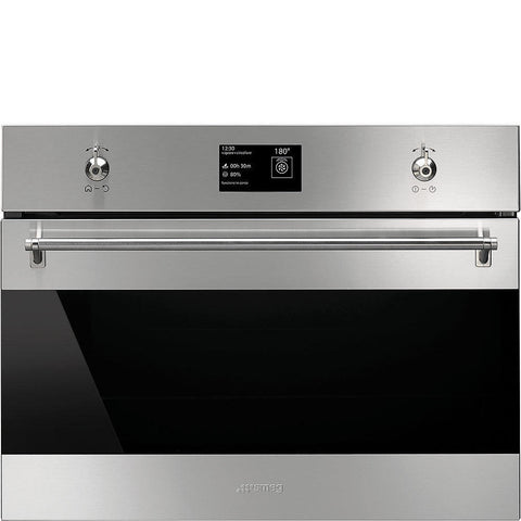 Smeg SF4395VCX 45cm Height Classic Stainless Steel and Eclipse Glass Compact Combination Steam Oven