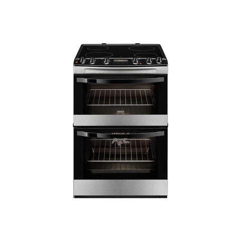 Zanussi ZCV68310XA 60cm Electric Double Oven Cooker With Ceramic Hob Stainless Steel