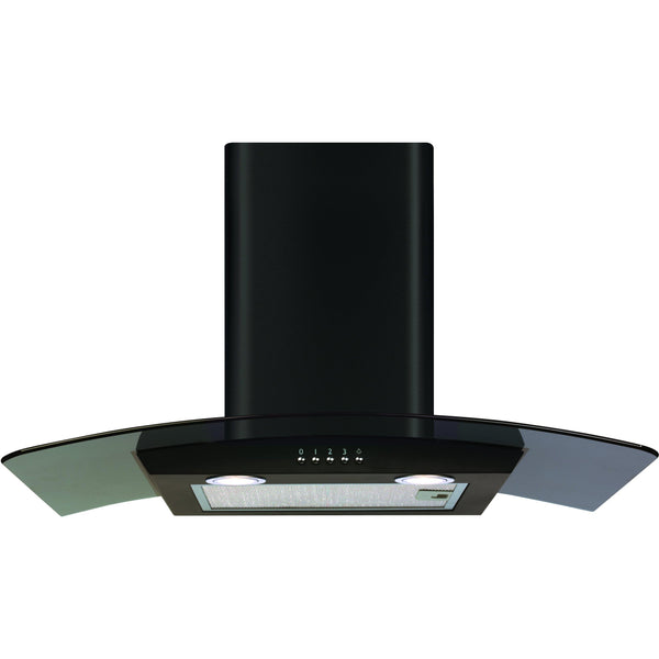 CDA ECP72BL 70cm curved glass extractor Black-Appliance People
