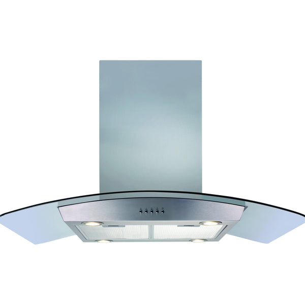 CDA ECPK90SS 90cm curved glass island extractor Stainless Steel-Appliance People