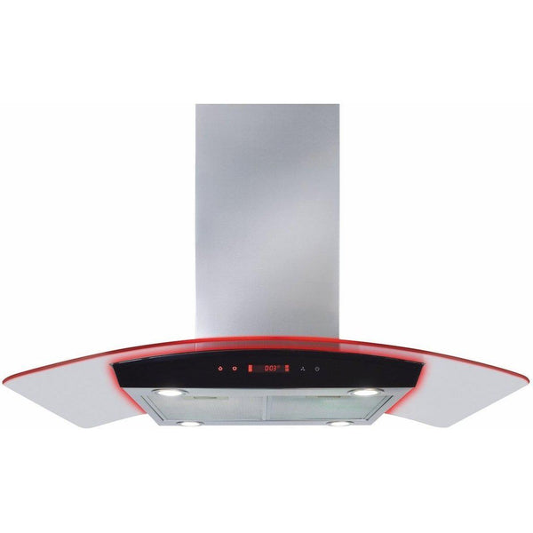 CDA EKPK90SS 90cm curved glass island extractor with edge lighting Stainless Steel-Appliance People
