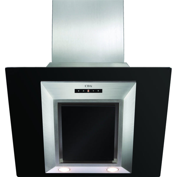 CDA EVG6BL 60cm angled black glass extractor Black-Appliance People