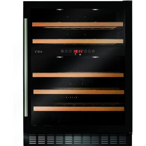 CDA FWC604BL 60cm dual zone, freestanding/ under counter wine cooler Black-Appliance People