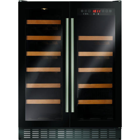 CDA FWC624BL 60cm double door, freestanding/ under counter wine cooler Black-Appliance People