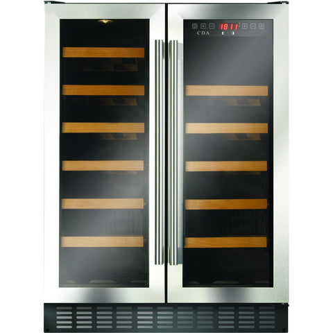 CDA FWC624SS 60cm double door, freestanding/ under counter wine cooler Stainless Steel-Appliance People