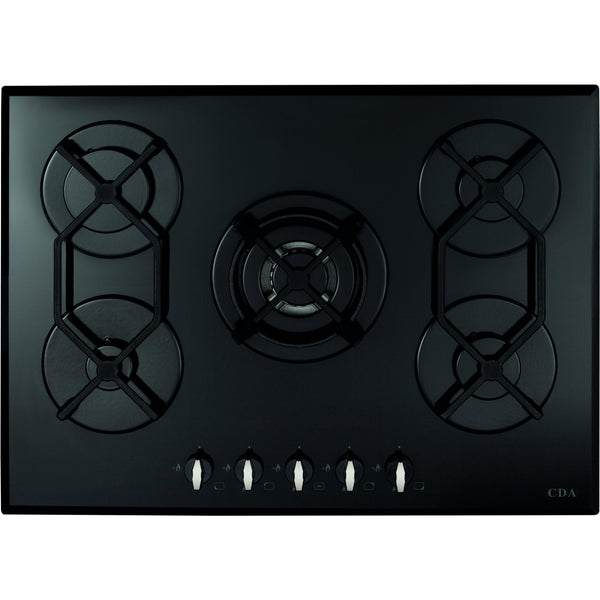 CDA HVG720BL Five burner gas on glass hob Black-Appliance People