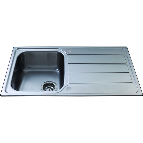 CDA KA50SS Inset compact single bowl sink Stainless Steel-Appliance People