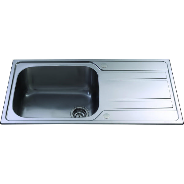 CDA KA71SS Inset large single bowl sink Stainless Steel-Appliance People