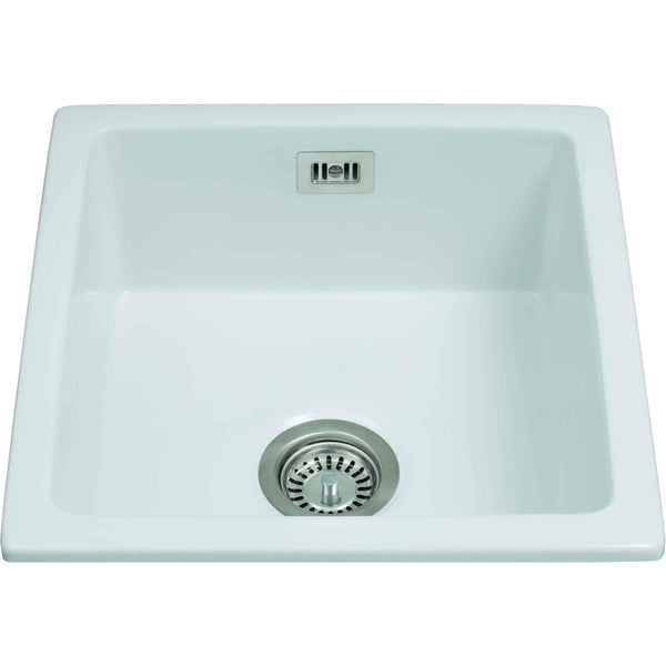 CDA KC42WH Undermount single bowl ceramic belfast sink White-Appliance People
