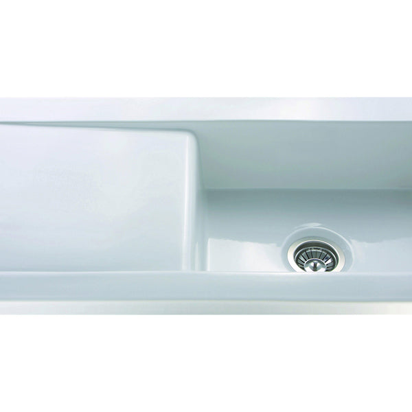 CDA KC73WH Inset ceramic single bowl sink White-Appliance People