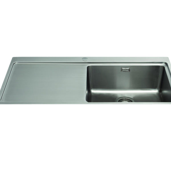 CDA KVF21LSS Single bowl flush fit sink with left hand drainer Stainless Steel-Appliance People