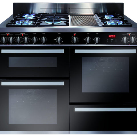 CDA RV1200SS 120cm triple cavity dual fuel range cooker Stainless Steel-Appliance People