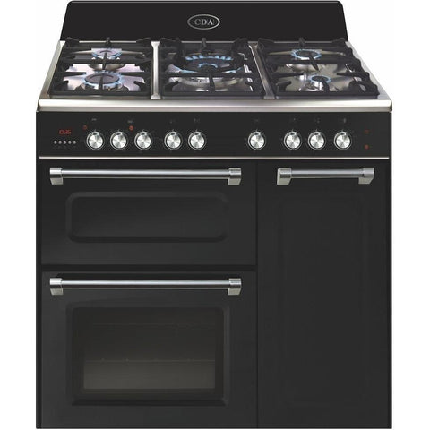CDA RVC931BL 90cm triple cavity dual fuel classic range cooker Black-Appliance People