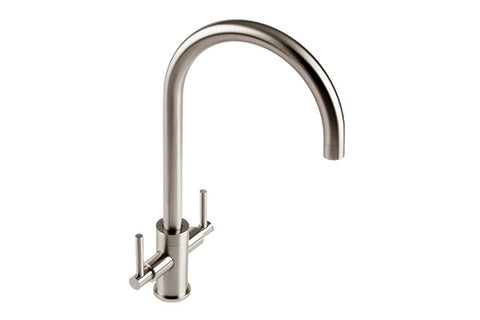 The 1810 Company CURVATO SLIM LEVER CURVED SPOUT Tap Brushed Steel-Appliance People