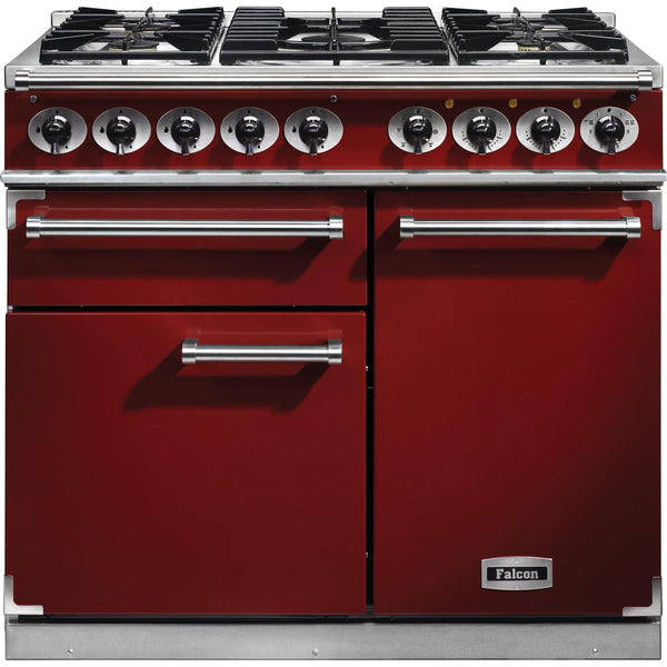 Falcon F1000DXDFBL/CM 1000 Deluxe 100cm Dual Fuel Range Cooker Cherry Red-Appliance People