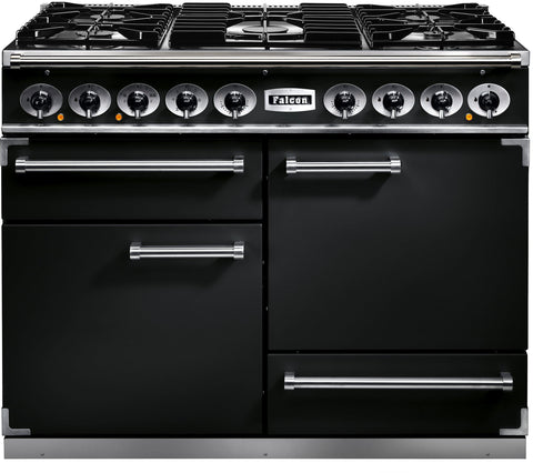 Falcon F1092DXDFBL/M 1092 Deluxe 110cm Dual Fuel Range Cooker Black-Appliance People