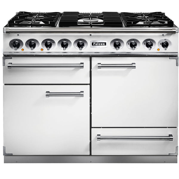 Falcon F1092DXDFWH/NM 1092 Deluxe 110cm Dual Fuel Range Cooker White-Appliance People