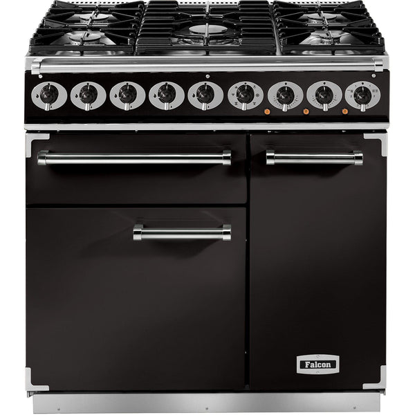 Falcon F900DXDFBL/M 900 Deluxe 90cm Dual Fuel Range Cooker Black-Appliance People