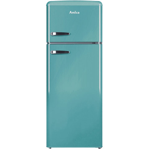 Amica FDR2213DB Retro 50cm Double Door Fridge Freezer in Duck Egg Blue
