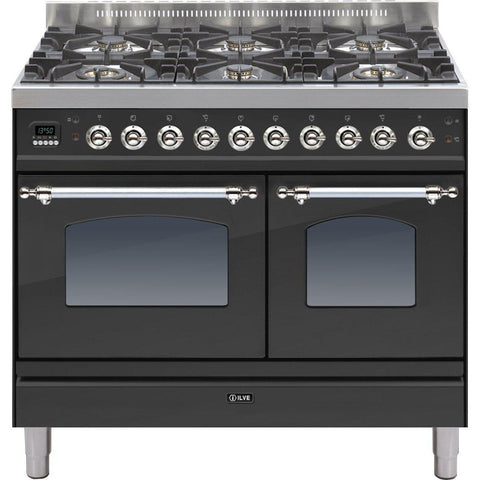 ILVE Milano Dual Fuel Range Cooker 100cm Twin 6 Burner Matt Black-Appliance People